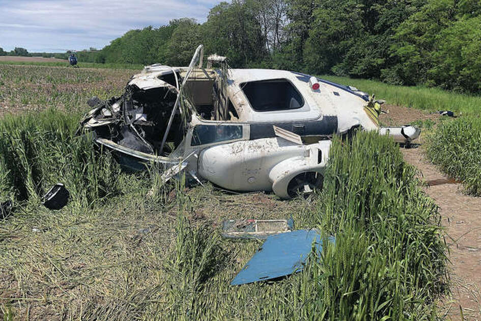 This Bell 206 helicopter crashed into a wheat field north of Pittsfield while it was spraying crops. The pilot was unharmed.