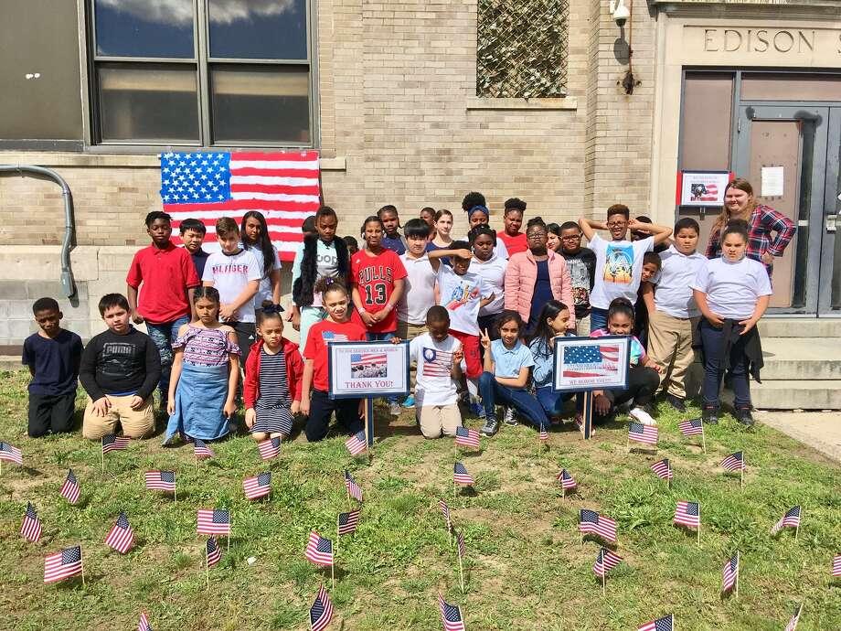 Sixth and third graders at Edison School in Bridgeport salute Memorial Day Photo: Linda Conner Lambeck