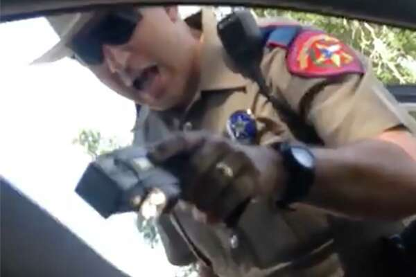 A still image from video taken by Sandra Bland on her cell phone during her arrest.