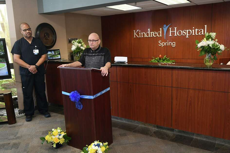 Bruce Cox, a stroke victim and now an outpatient at Kindred Spring Hospital, talks about his Kindred Spring Hospital experience during an exoskeleton demonstration ribbon cutting at Kindred Spring Hospital on May 22, 2019.