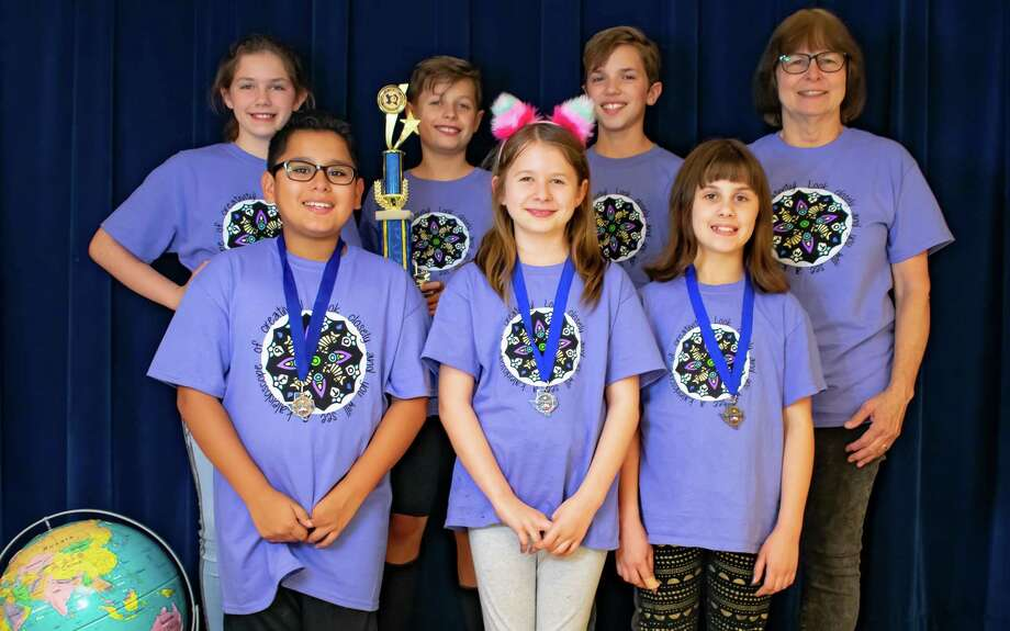 One of this year's two Odyssey of the Mind teams from Terrace Elementary is competing at the world finals at Michigan State University. Back from left:  Hannah, Tomasz, Jonathan, and Iris Story (coach). Front from left: Ryan, Anusia, Avery. Photo: Courtesy Photo