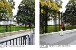 A view of the height of the existing White House fence compared with a proposed higher one.