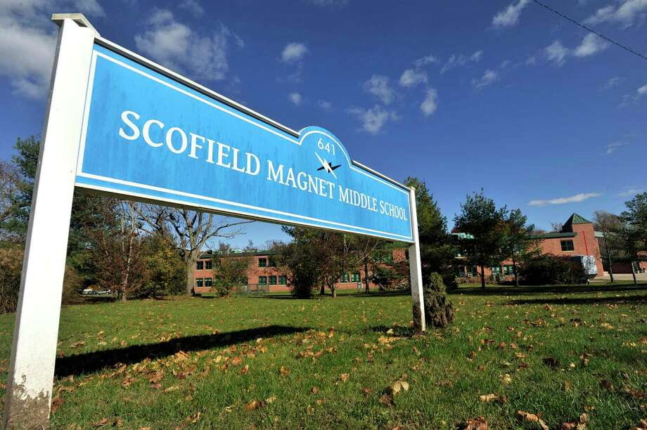 Scofield Magnet Middle School was put on temporary lockdown this morning, Friday, Oct. 30, 2015. Photo: Michael Cummo / Hearst Connecticut Media / Stamford Advocate