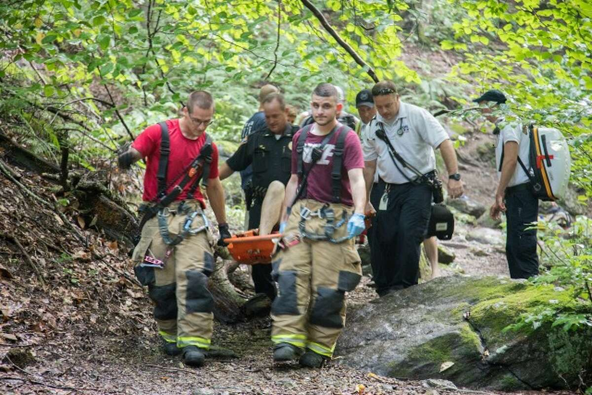 Shelton emergency crews rescue a man near the falls at Indian Well State Park on Wednesday. - Keith Muratori/FireGroundImages.com photo