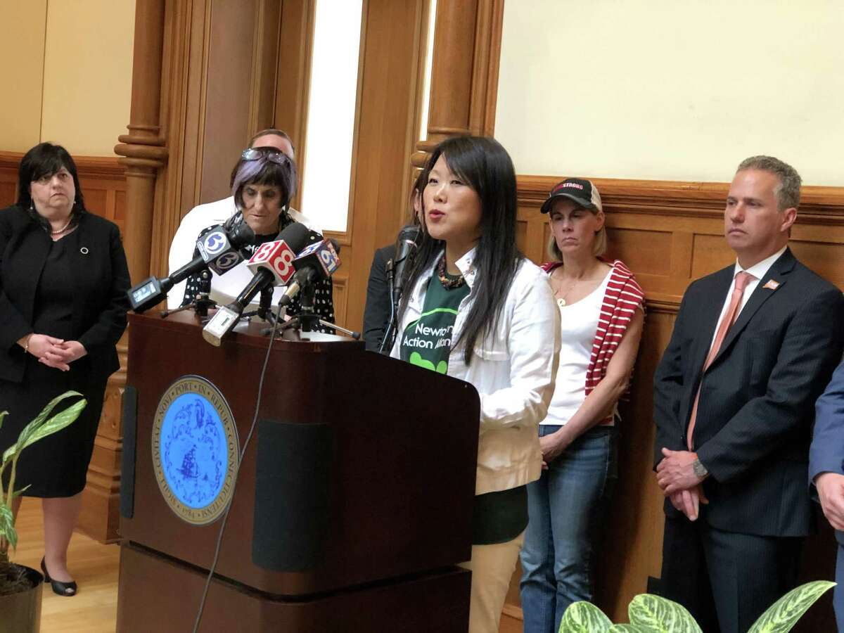 U.S. Rep. Rosa DeLauro and other advocates called for Congress to allocate funding to research gun violence Friday during a press conference at New Haven City Hall. Here, Po Murray, chair of Newtown Action Alliance, speaks.