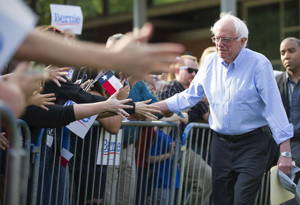 Democratic presidential candidate Sen. Bernie Sanders, I-Vt., Bernie Sanders greets supporters before speaking during a rally at Discovery Green on Wednesday, April 24, 2019, in Houston.