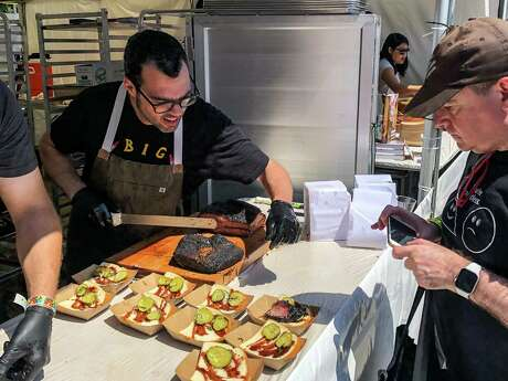 Aaron Franklin of Austin was among the pitmasters serving barbecue at the All-Star BBQ event in Los Angeles.