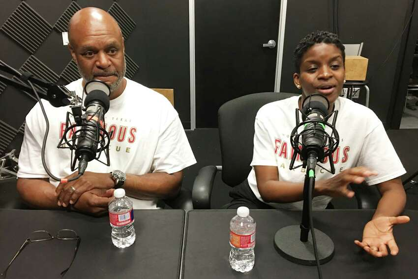 Jamie and Karen Fain, owners of Fainmous BBQ, record and episode of BBQ State of Mind, a Houston Chronicle podcast, May 21, 2019.