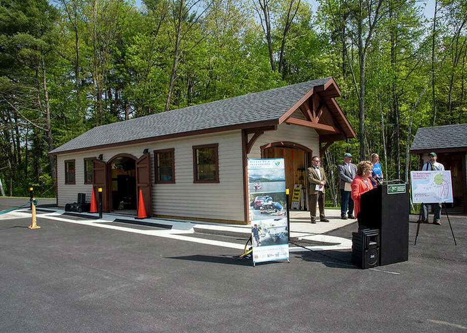 The new boat washing station at the Adirondack Welcome Center on the Northway in Queensbury. Photo: Courtesy Of State Department Of Environmental Conservation / NYS DEC Robin Kuiper