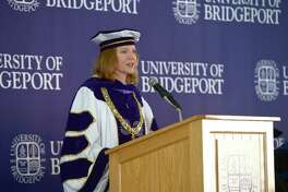 University of Bridgeport President Laura Skandera Trombley give her remarks at the 2019 Undergraduate Commencement Ceremony in Marina Park, Bridgeport, Conn, Saturday morning, May 18, 2019.