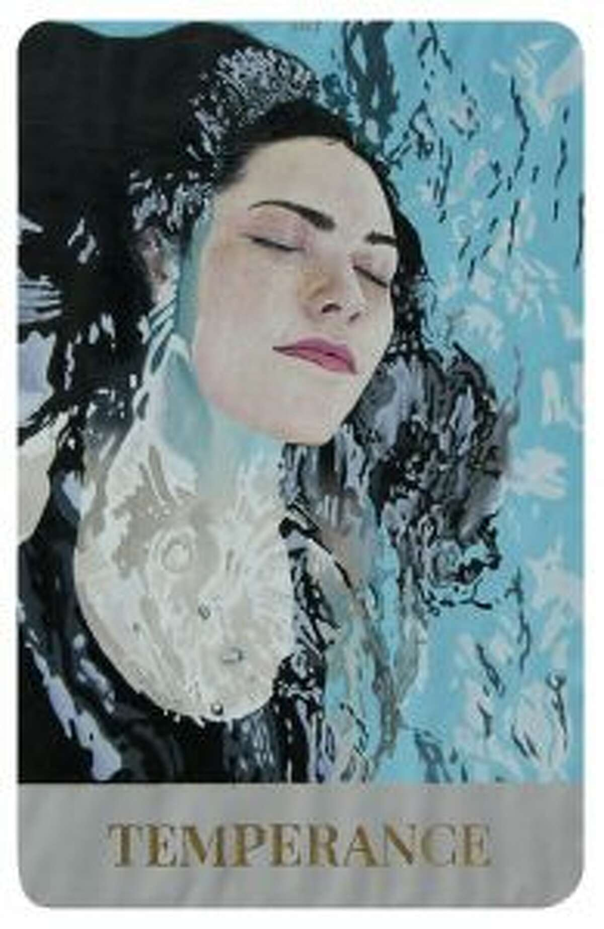 Temperance by Liam Morrill, a senior at Darien High School. Oil paint, acrylic, and gold leaf.