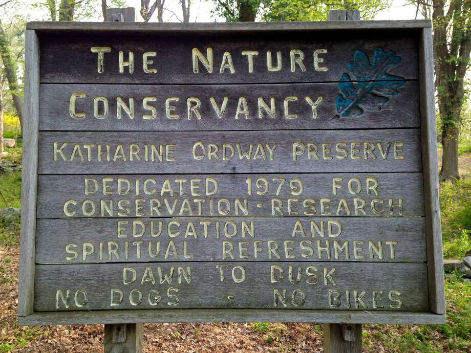 A sign at the Nature Conservancy's Katharine Ordway Preserve off Goodhill Road in Weston. Photo: Nature Conservancy Facebook / Contributed Photo