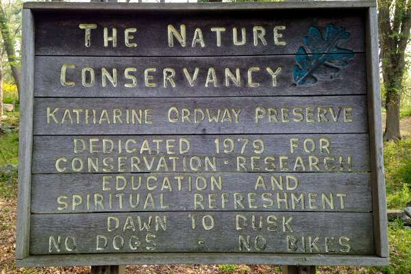 A sign at the Nature Conservancy's Katharine Ordway Preserve off Goodhill Road in Weston.
