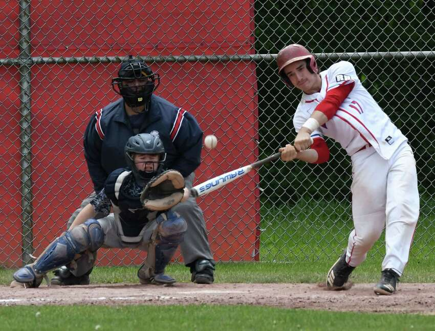 Tyler Hanrahan from Maple Hill swings for a double during late innings in a Class C playoff game against Warrensburg on Friday, May 24, 2019, at Maple Hill High School in Schodack, N.Y. (Will Waldron/Times Union)