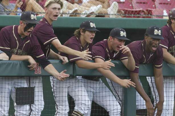 Magnolia West players cheer in the second inning during Game 1 of a Region III-5A semifinal high school baseball series at Darryl & Lori Schroeder Park, Wednesday, May 22, 2019, in Houston.