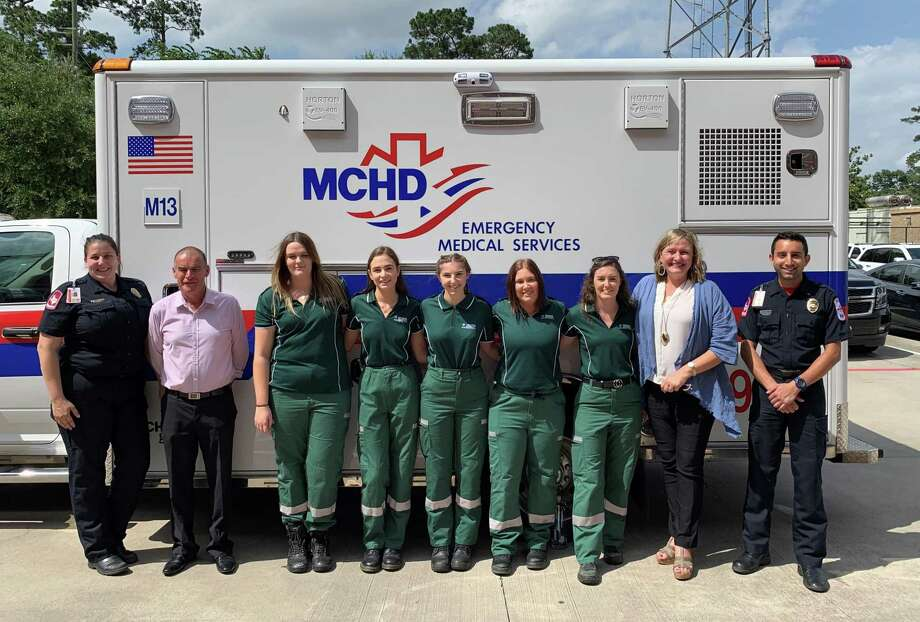 Pictured at the Montgomery County Hospital District's administration building on May 17 are paramedics, Victoria University, Melbourne administrators and paramedic students. From left to right, paramedic Ashton Herring, university faculty member John Cowell, students Jess Gough, Lara Lobbe, Holly Azzopardi, Sarah Debondt, Atrisha Welsford, senior administrator Catherine Kamphuis and paramedic Tyrone Philogene. Photo: Courtesy Of The Montgomery County Hospital District
