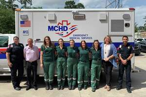 Pictured at the Montgomery County Hospital District's administration building on May 17 are paramedics, Victoria University, Melbourneadministrators and paramedicstudents.From left to right, paramedic Ashton Herring, university faculty member John Cowell, students Jess Gough,Lara Lobbe, Holly Azzopardi, Sarah Debondt, Atrisha Welsford,senior administratorCatherine Kamphuis and paramedic Tyrone Philogene.