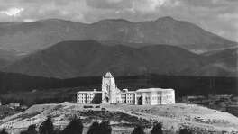 A majestic view of Lone Mountain College, also known as San Francisco College for Women, May 23, 1933  No Photographer info.