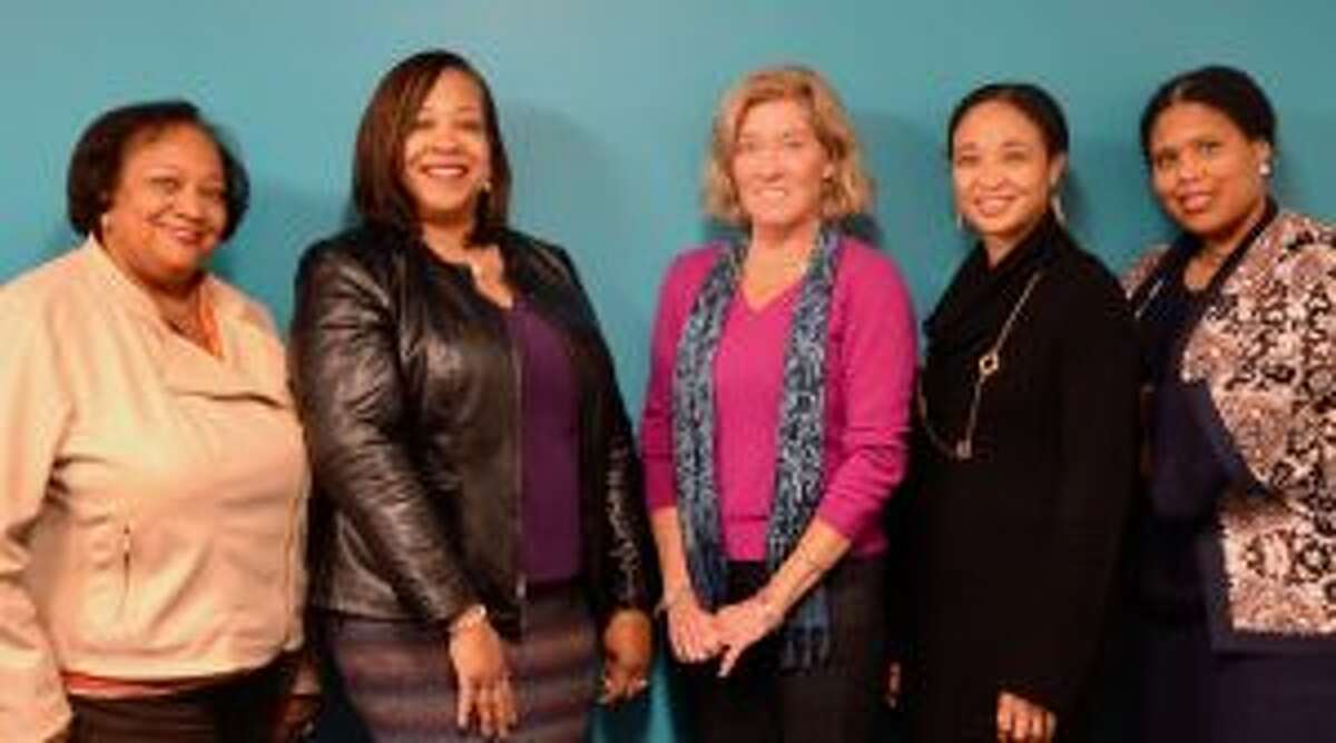Juanita James, CEO and president of Fairfield County's Community Foundation (left), with Leah Glover and Jane Carlin, FWG Luncheon Committee co-chairs, and Tricia Hyacinth, director of Fairfield County's Community Foundation's Fund for Women & Girls, and Mendi Blue-Paca, FCCF vice president of Community Impact. The annual Fund for Women & Girls Luncheon will be held on April 4.
