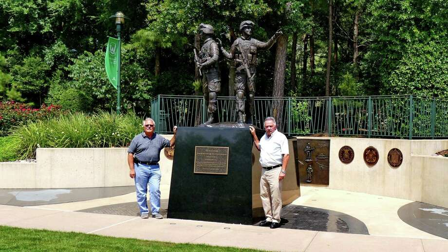 Everett Ison, rresident,  and Bill Wingo, treasurer of the Greater Woodlands Public Art Foundation, stand at the statue. Photo: Image Courtesy The Greater Woodlands Public Art Foundation / Image Courtesy The Greater Woodlands Public Art Foundation
