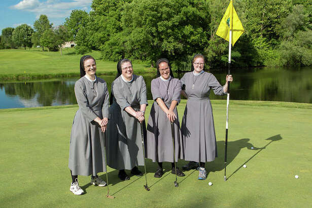 Sister M. Anselma, Sister M. Caritas, Sister M. Rosalinda and Sister M. Ignatia enjoy a day on the links during the 2016 OSF Saint Anthony's Foundation golf tournament. Over the last 17 years, the tournament has raised more than $900,000 for OSF HealthCare Saint Anthony's Cancer Center of Excellence.