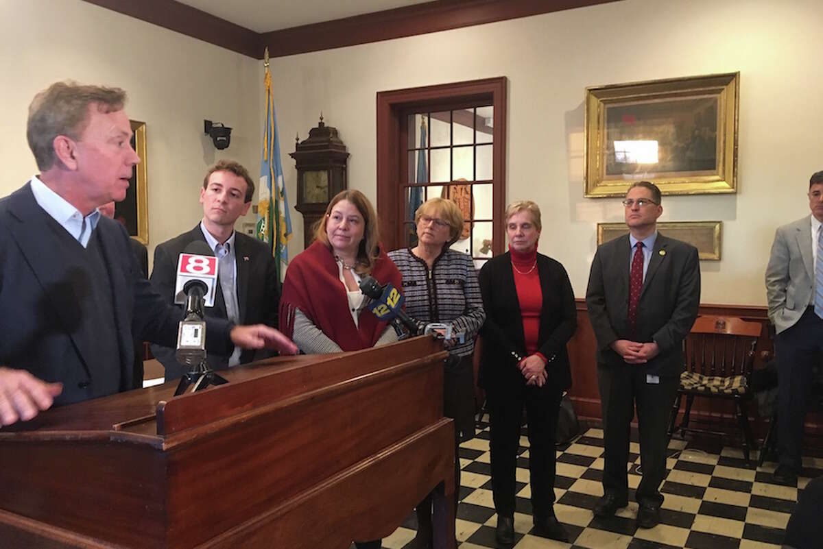 Gov. Ned Lamont meets with a bipartisan group of municipal leaders in Weston. Feb. 26, 2019. - Linda Conner Lambeck/Hearst Connecticut Media