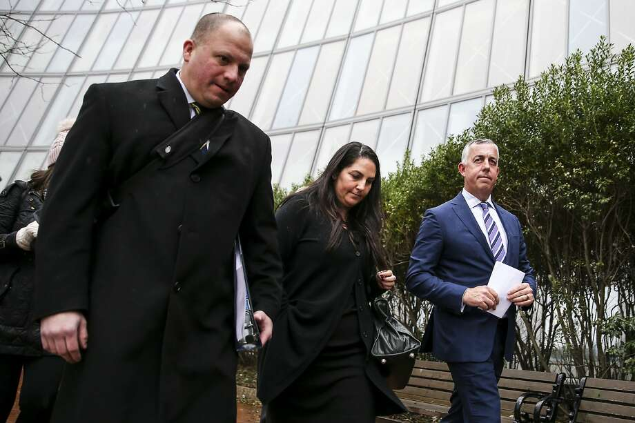 Marjorie Klapper (center), of Menlo Park, leaves the a courthouse in Boston in March. Klapper was sentenced Wednesday in a college admissions scandal. Photo: Nathan Klima / Boston Globe Via Getty Images