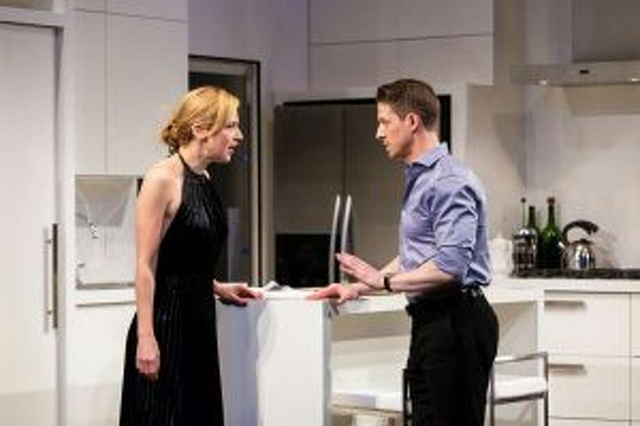 Beth Riesgraf and Zach Appelman star in The Engagement Party, which runs through Feb. 3 at the Hartford Stage. — Photo courtesy of Hartford Stage