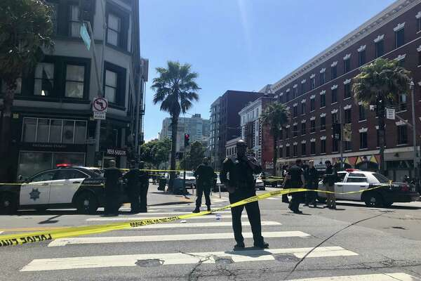 Police are investigating the shooting of two men at Sixth and Mission streets in San Francisco on Friday.