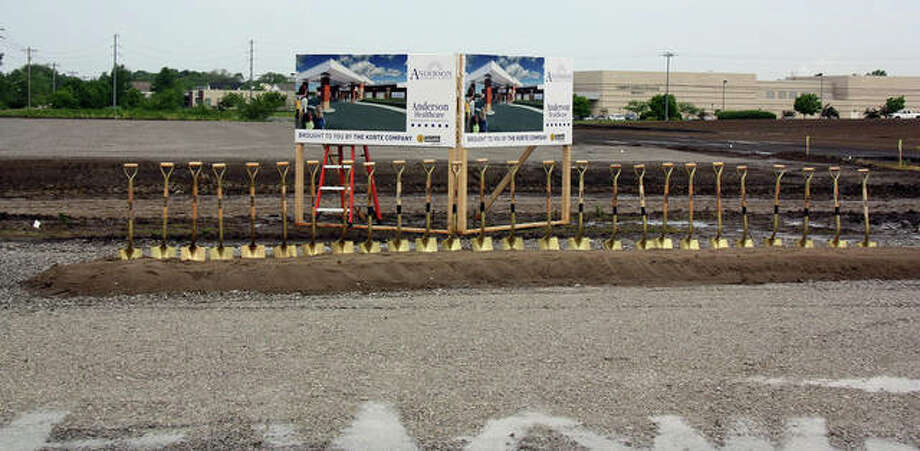 The line of golden shovels stands ready to officially break ground for Anderson Healthcare's Goshen Campus expansion Thursday. In the background is Liberty Middle School. Photo: Charles Bolinger | The Telegraph
