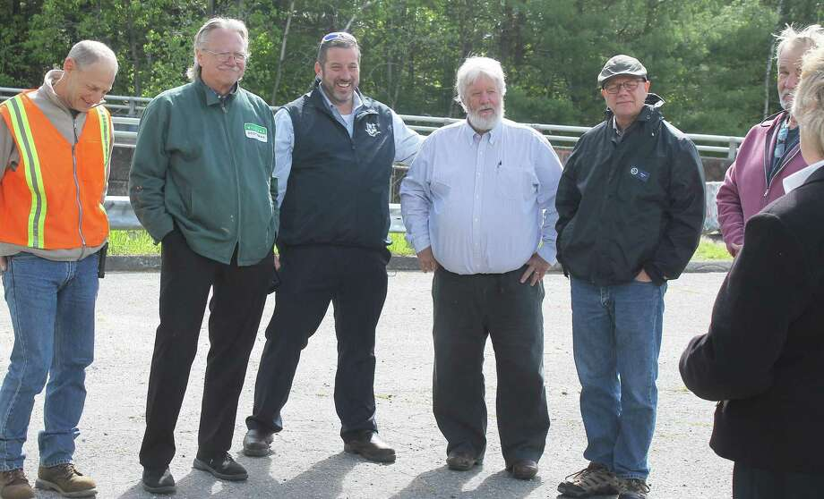 From left are Jim Rollins, Winsted Dept. Public Works, Robert Geiger, Winsted Town Manager, State Rep. Jay Case, State Sen. Craig Miner, and Charles Lee, DEEP, during a recent meeting at Highland Lake. Photo: Contributed Photo