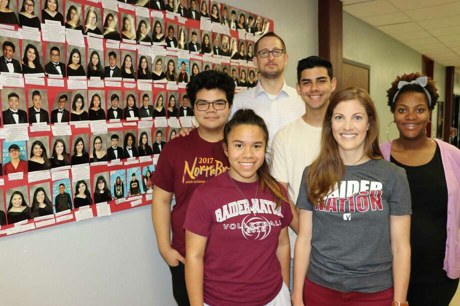 YES Prep at Northbrook High School is celebrating its first graduating class this year. Pictured here areBryan Reed, YES Prep director; Elizabeth Walthall, teacher: Clorena Myles, teacher; and graduating seniors Shane Lau, Bessy Banegas and Julian Erazo. Photo: Courtesy Photo