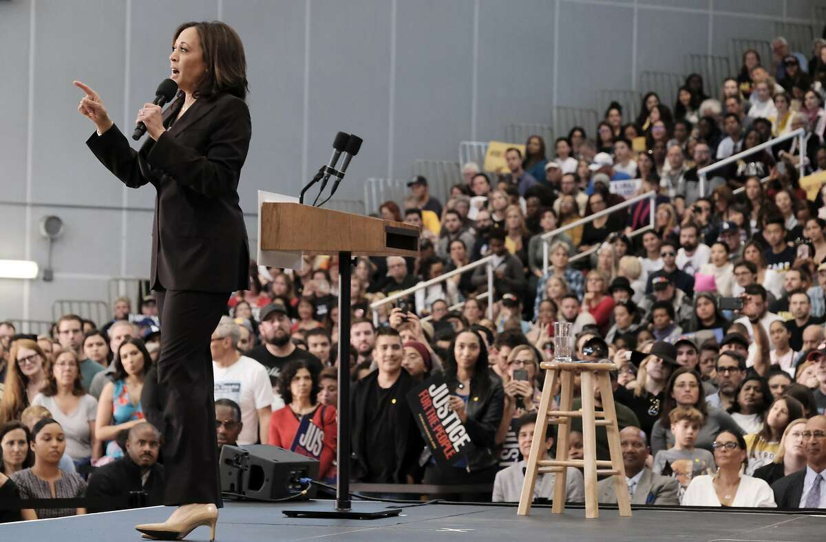 Democratic presidential candidate Sen. Kamala Harris, D-Calif., talks during her first campaign organizing event at Los Angeles Southwest College in Los Angeles, on Sunday, May 19, 2019. (AP Photo/Richard Vogel)