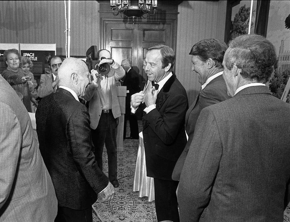 Honoree Gen. James Doolittle shares a moment with astronaut Alan Shepard at the Charles A. Lindbergh Fund awards banquet in May 1984. Astronauts Walter Schirra and Gordon Cooper look on at right.
