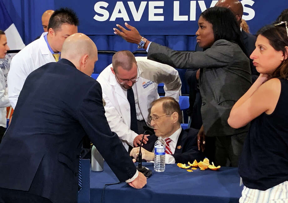 ** EDS: RETRANSMISSION OF XNYT77 SENT MAY 24 2019 TO CORRECT IPTC INFORMATION TO REFLECT PHOTO IS BY NYT STAFFER ** Rep. Jerry Nadler (D-N.Y.) receives medical attention after fainting at a news conference in Manhattan, on Friday, May 24, 2019. Nadler, the chairman of the House Judiciary Committee, appeared to be recovering but was taken to a hospital by ambulance. (Jeffery C. Mays/The New York Times) Photo: JEFFERY C. MAYS / NYTNS