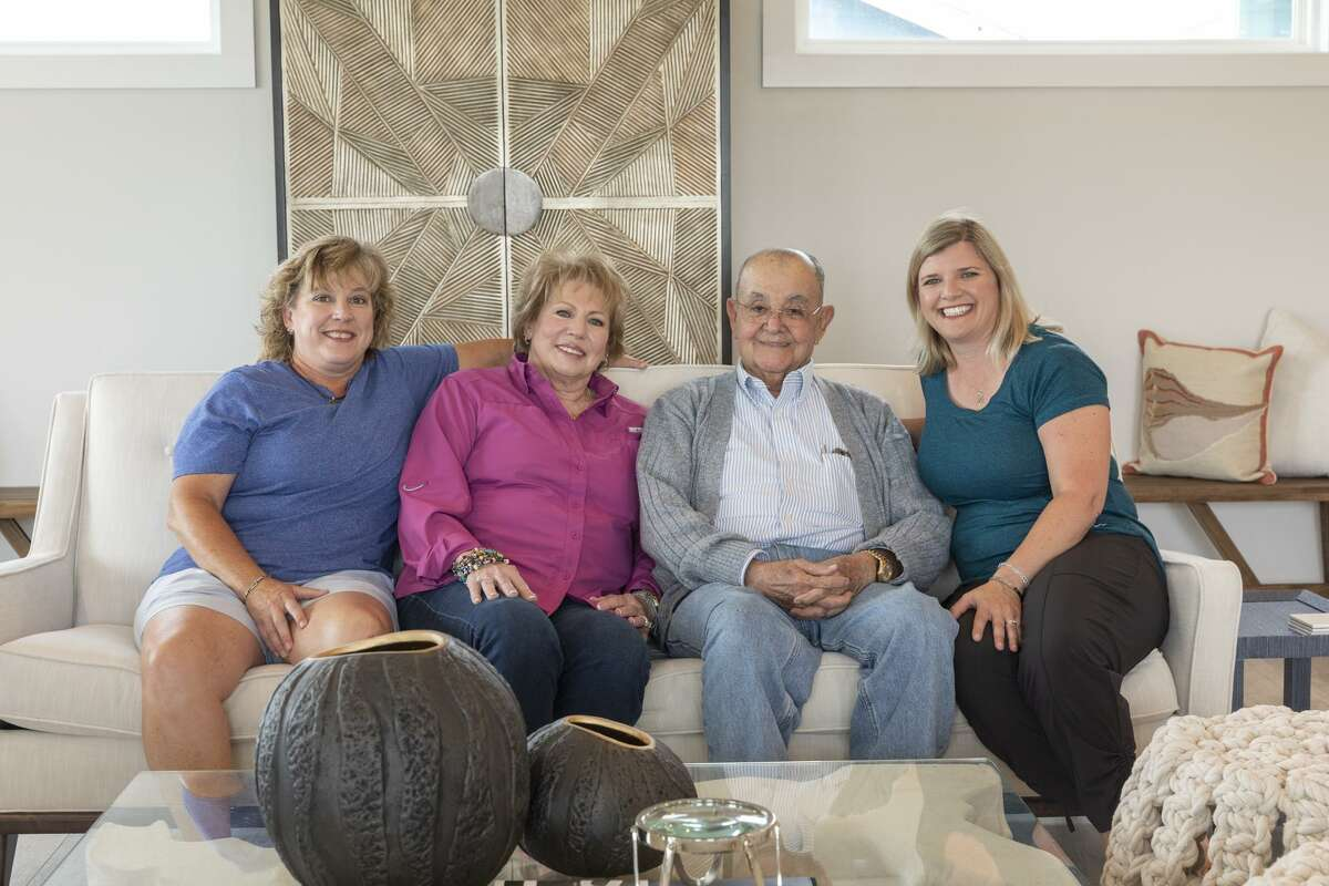 From left, Christy xxx, Sandy and J.J. Diaz, and Claudia xxx in Sandy and J.J. Diaz's Rockport home. Their new home - now their primary home - replaced a vacation home that was reduced to rubble by Hurricane Harvey.