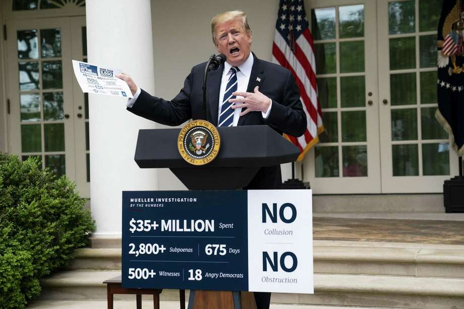 President Donald Trump speaks in the Rose Garden after storming out of a meeting with congressional Democrats on Wednesday. Democrats should heed Americans on need to stop investigating Trump. Photo: DOUG MILLS /NYT / NYTNS