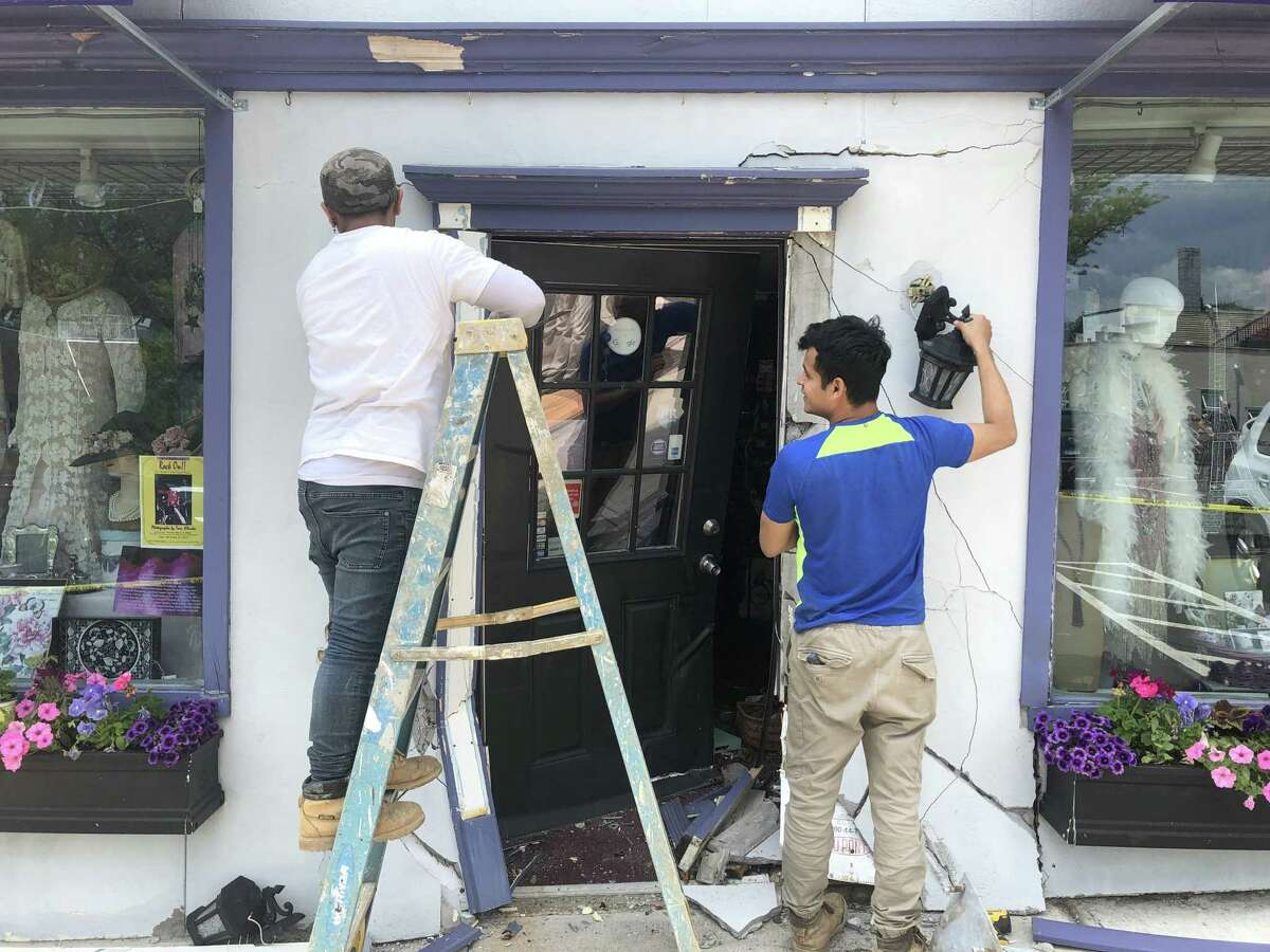 Sophia's, a costume rental and sales store on 1 Liberty Way, sustained extensive damage after a car drove into the storefront on Monday.