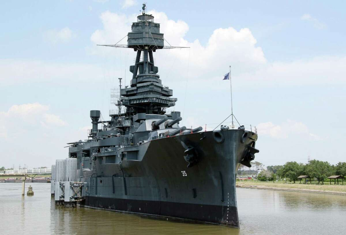 The Battleship Texas in its berth along the Houston Ship Channel in La Porte, Texas.