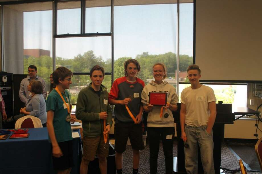 Housatonic Valley Regional High School students awarded third place at the 28th annual Connecticut High School Geography Challenge at CCSU in New Britain on May 22, 2019. Pictured are Sasha Allen, Soren Clulow, Shane Stampfle, Marijke Stiffler, and Keaeton Terrall. Photo: Contributed Photo /