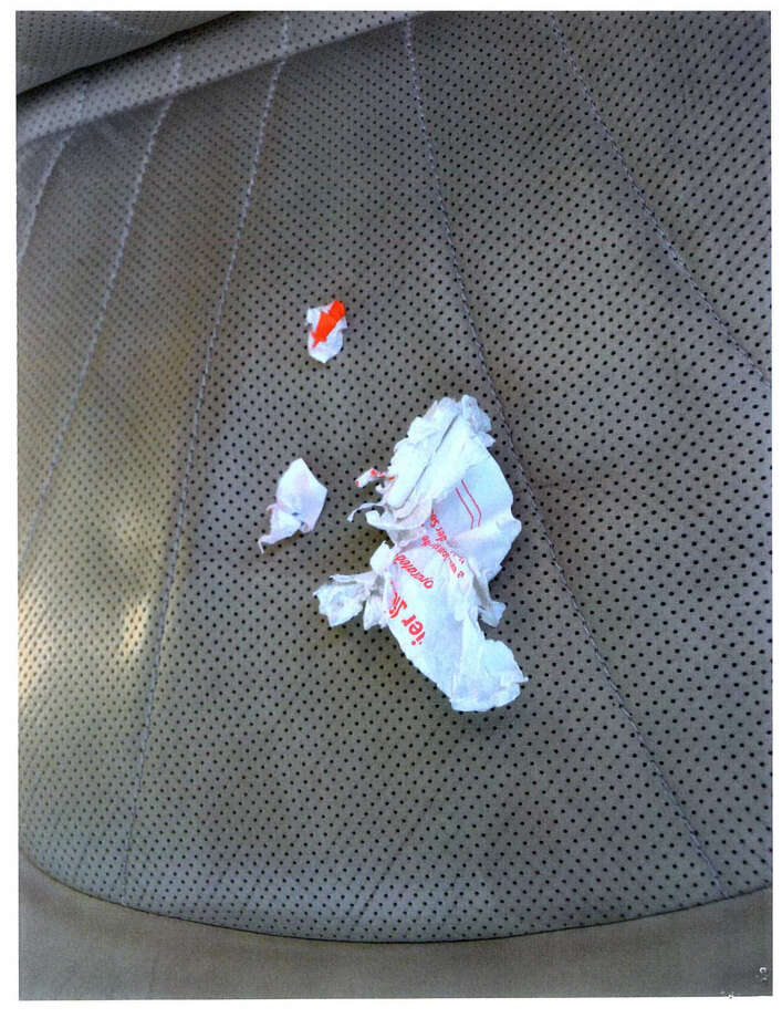 Schoharie County District Attorney is seeking a DNA sample from Nauman Hussain after this crumbled up sticker was found in his car on Oct. 10, four days after the limo crashed that killed 20. Photo: New York State Police