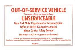 """This is an """"out-of-service"""" sticker like one found crumble in Nauman Hussain's car on Oct. 10, four days after the limo crash that killed 20."""