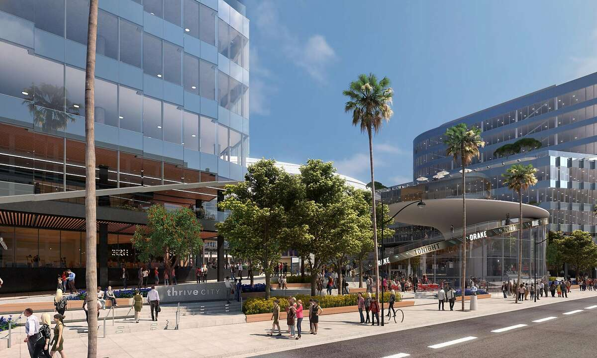 This rendering, provided on Friday, May 24, 2019, shows part of the planned 11-acre plaza to be called