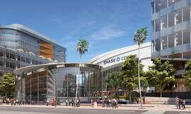 """This rendering, provided on Friday, May 24, 2019,  shows part of the planned 11-acre plaza to be called """"Thrive City"""" around the Chase Center arena in San Francisco."""