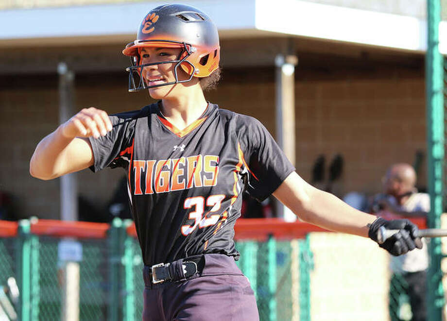 Edwardsville junior Maria Smith hit home runs in the first and seventh innings to lead the Tigers to a victory over Collinsville in the championship game of the Edwardsville Class 4A Regional at the District 7 Sports Complex. Photo: Greg Shashack / The Telegraph
