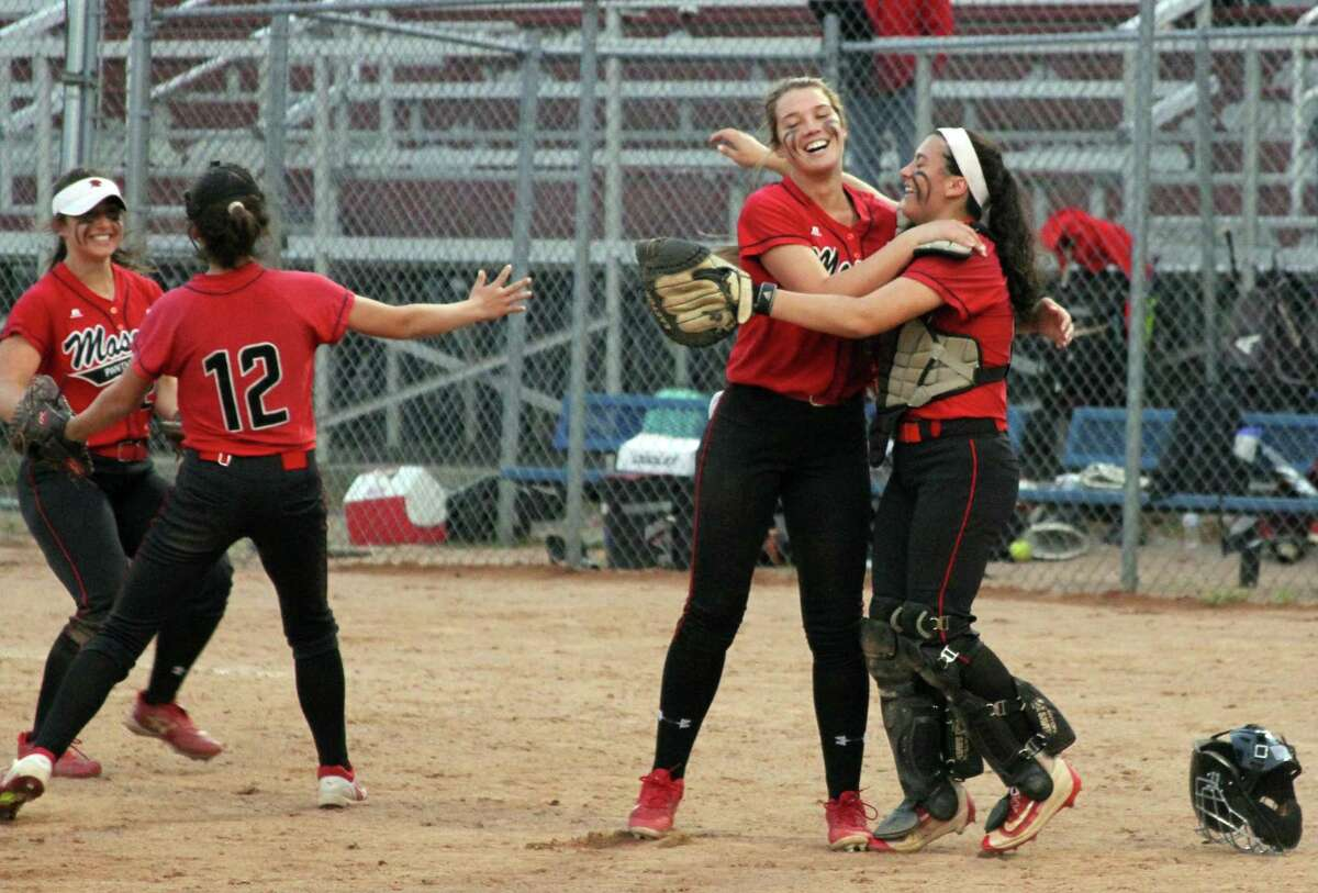 Masuk celebrates its 11-3 victory over Notre Dame-Fairfield in SWC championship in Stratford on Friday.