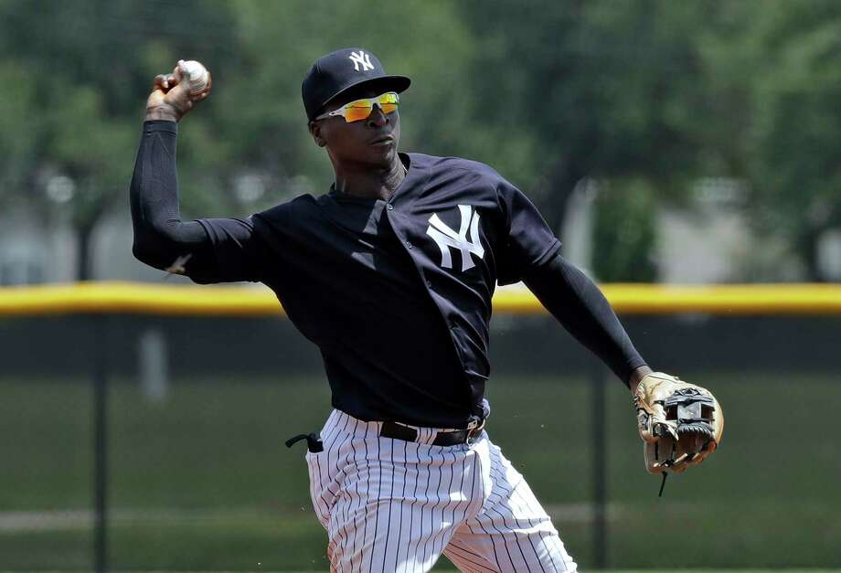 New York Yankees' Didi Gregorius throws the ball to first base in time to get a runner during a Gulf Coast League baseball game Monday, May 20, 2019, in Tampa, Fla. Gregorius is playing for the first time since having Tommy John surgery. (AP Photo/Chris O'Meara) Photo: Chris O'Meara / Copyright 2019 The Associated Press. All rights reserved.