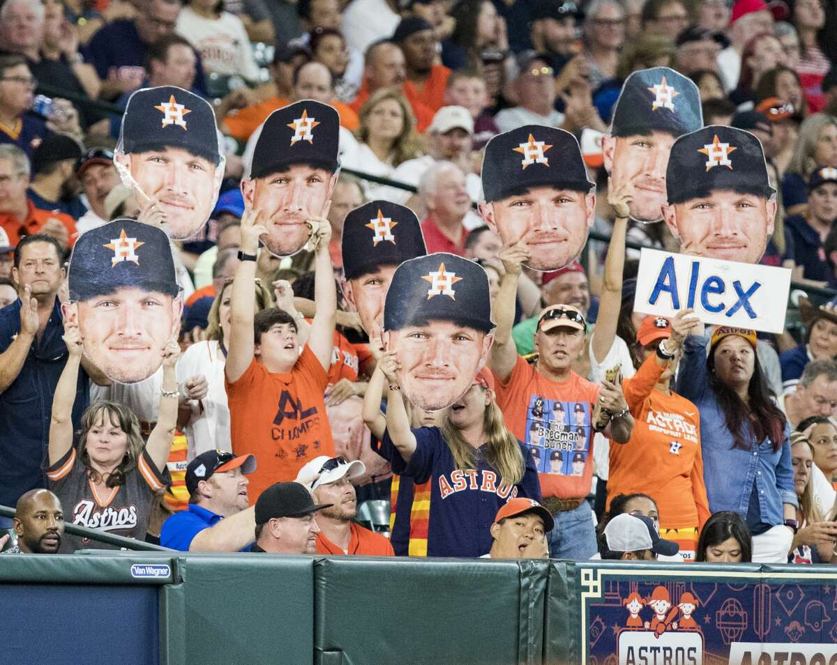 PHOTOS: Astros vs. Mariners Houston Astros third baseman Alex Bregman's fans cheer for him during a game against the Boston Red Sox at the Minute Maid Park on Friday, May 24, 2019, in Houston. >>>See photos from the Astros' win against the Mariners on Tuesday ...