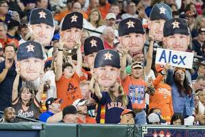 Houston Astros third baseman Alex Bregman's fans cheer for him during a game against the Boston Red Sox at the Minute Maid Park on Friday, May 24, 2019, in Houston.