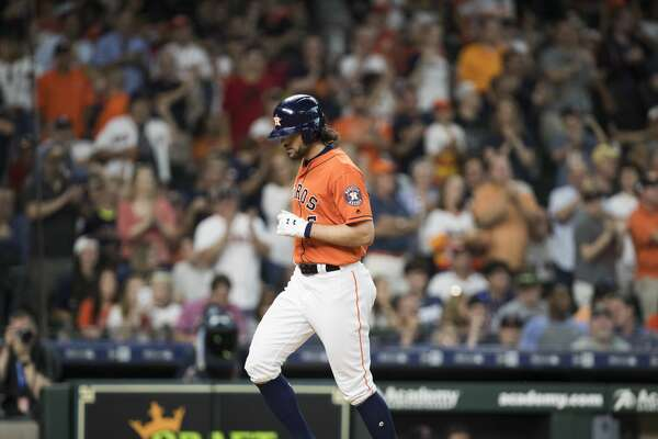 Houston Astros center fielder Jake Marisnick (6) runs home after hitting a homer during the third inning against the Boston Red Sox on Friday, May 24, 2019, in Houston.